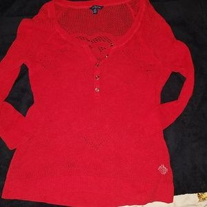 American eagle womens red knit top